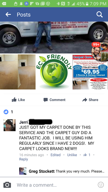 Carpet Care and Beyond five star rating for Atlanta carpet cleaning
